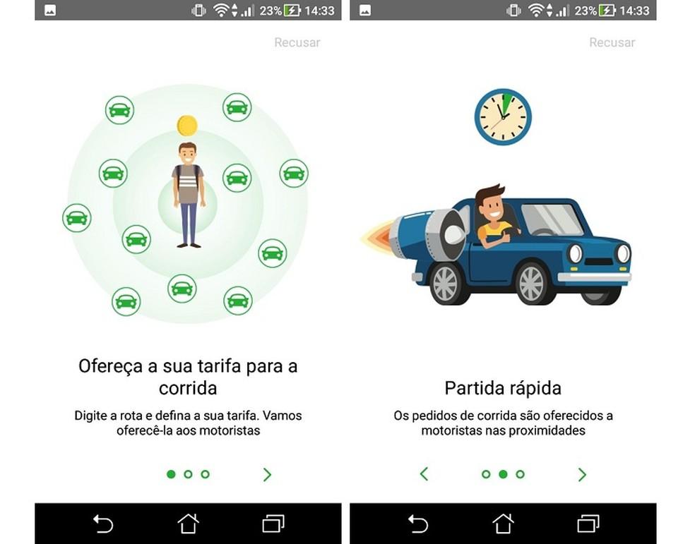 inDriver permite que o usuário ofereça um valor a ser pago pelo corrida — Foto: Reprodução/Maria Dias