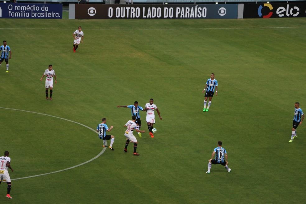 Pressão do Grêmio na saída de bola rival (Foto: Eduardo Moura)