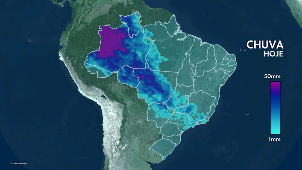 Previsão do tempo para quinta-feira, 10/10/2019, Brasil - Previsão do Tempo - G1