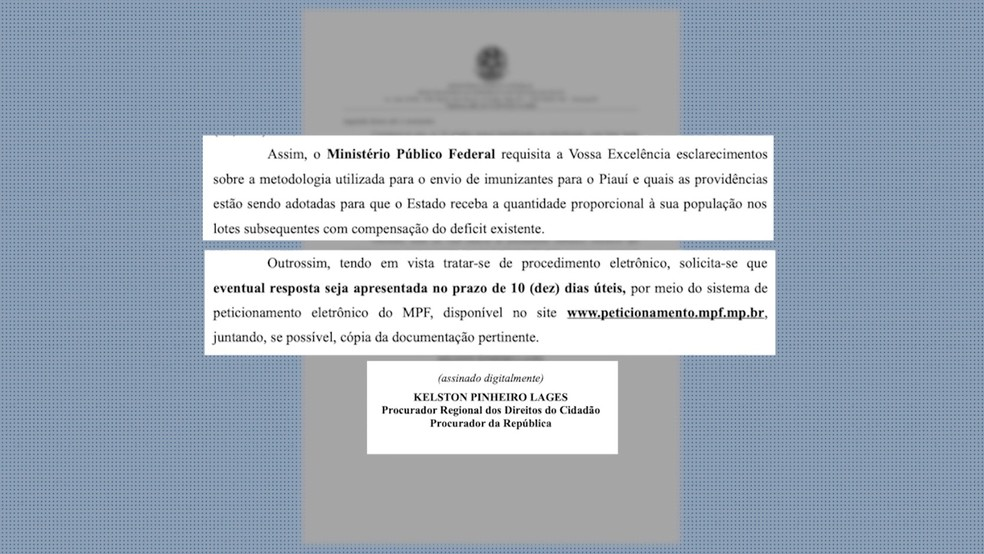 Ministério da Saúde tem até 1º de setembro para justificar defasagem de vacinas para o Piauí  — Foto: Reprodução