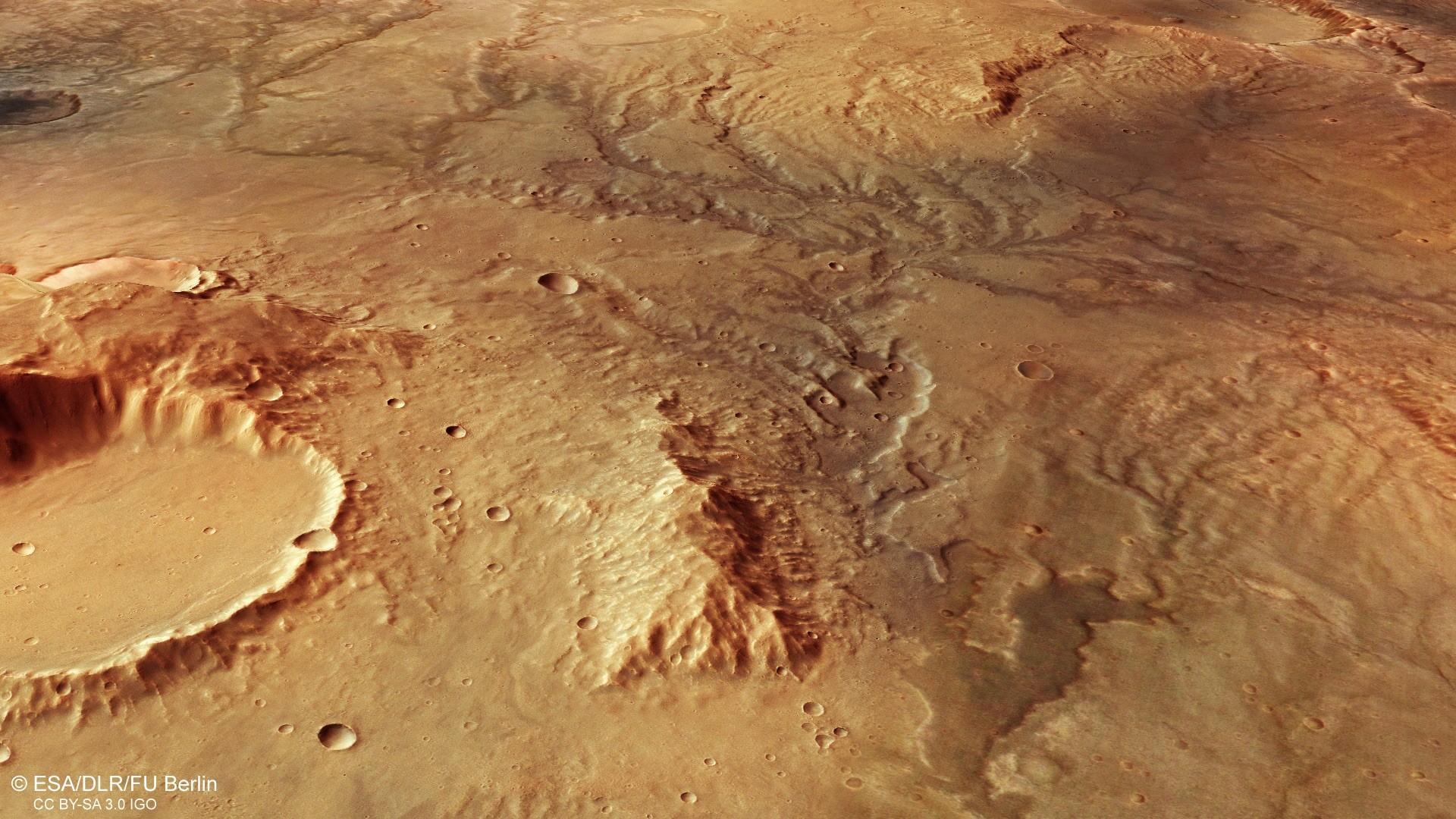 Imagem da sonda Mars Express da ESA mostra uma rede de vales em Marte (Foto: ESA/DLR/FU Berlin - CC BY-SA 3.0)