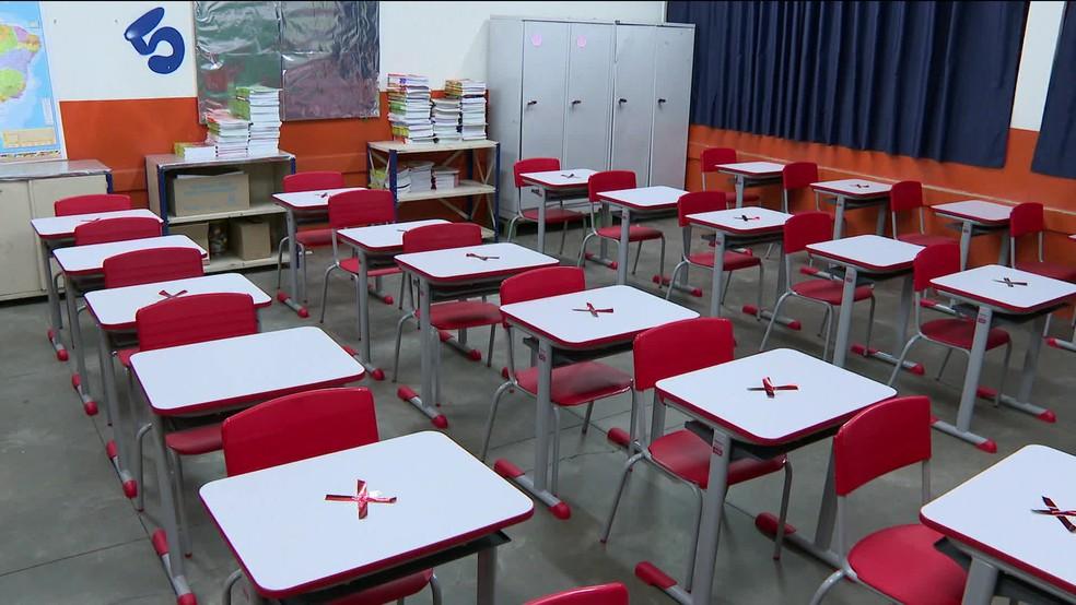 Sala de aula em São Paulo — Foto: Reprodução/GloboNews