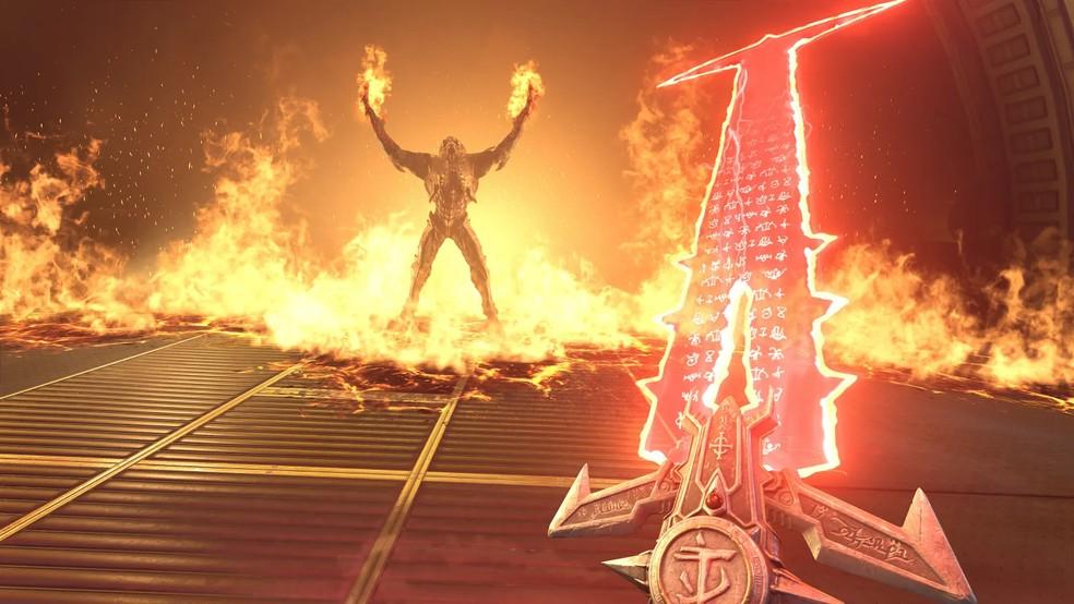 Em Doom Eternal, a espada Crucible permitirá absorver grandes quantidades de energias demoníacas — Foto: Divulgação/Bethesda