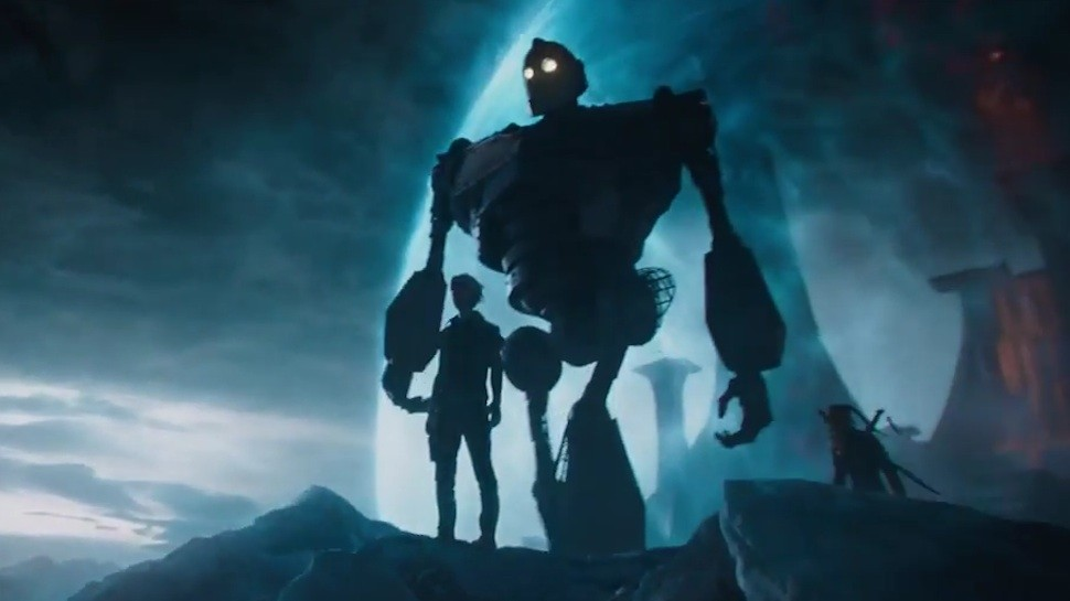 O Gigante de Ferro faz uma aparição no universo da OASIS em Jogador Número 1 (Foto: Reprodução/Youtube)