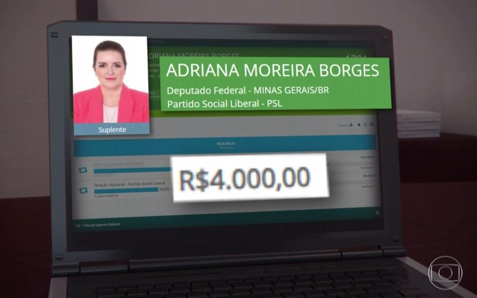 A candidata a deputada estadual Adriana Moreira Borges — Foto: Reprodução/TV Globo
