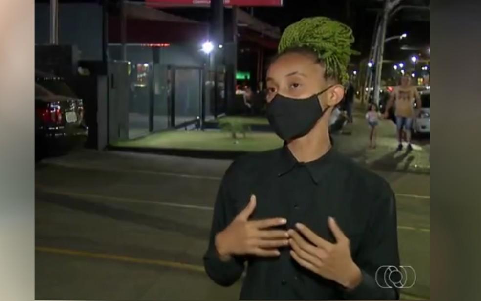 Kássia Morgana Rodrigues denuncia ter sido vítima de racismo em bar de Anápolis — Foto: Reprodução/TV Anhanguera