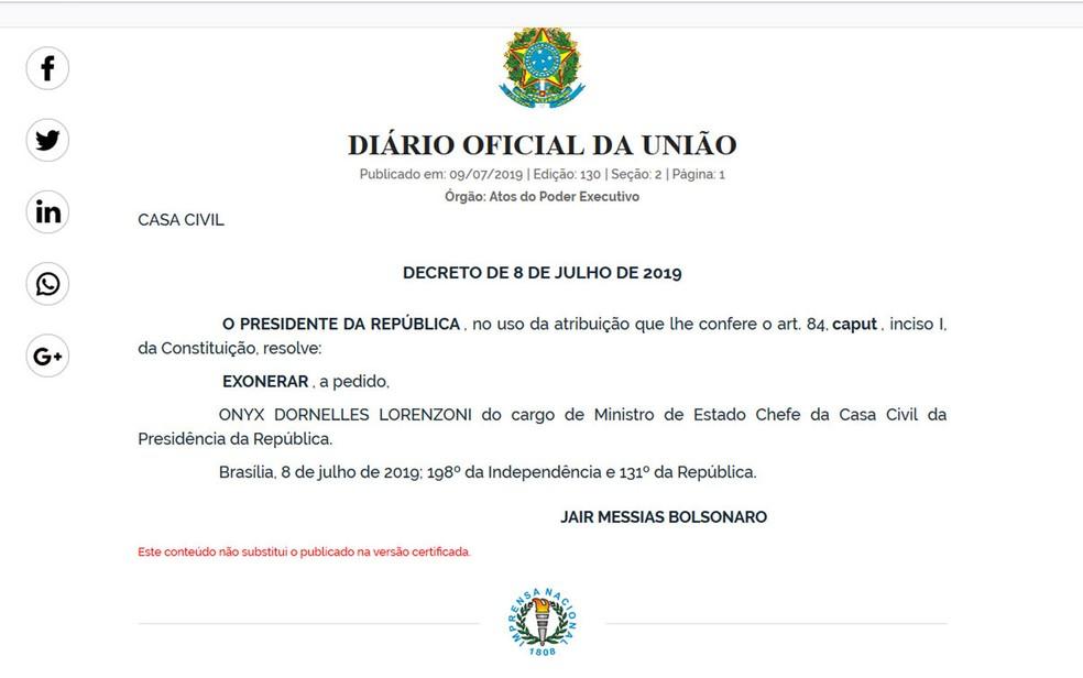 Exoneração de Onyx Lorenzoni — Foto: Reprodução / Diário Oficial da União