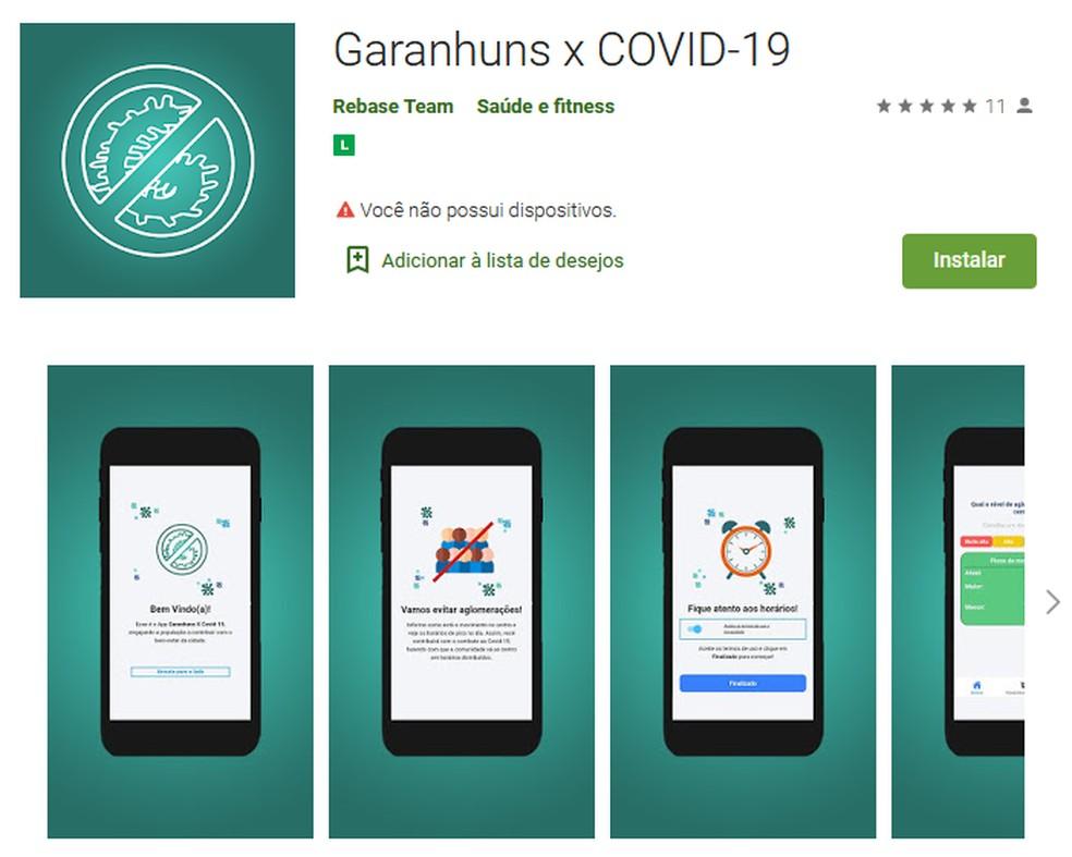 Aplicativo Garanhuns x COVID-19 — Foto: Google Play/Reprodução