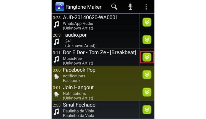 Destaque para ícone de seta do app Ringtone Maker (Foto: Reprodução/Raquel Freire)
