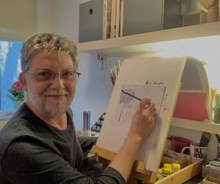 Kiko Mascarenhas vem fazendo um curso online de desenho | Arquivo pessoal