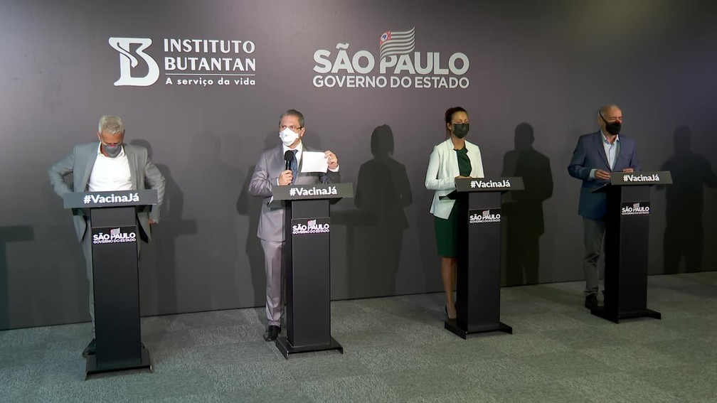 Coletiva de imprensa do governo de SP — Foto: Reprodução/TV Globo