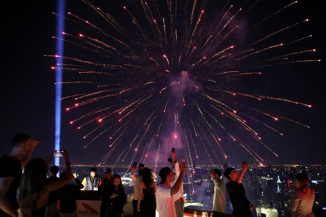 Show de fogos de artifício em Bangkok, na Tailândia