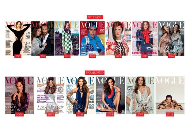 Lets celebrate (Foto: Ellen Von Unwerth/arquivo Vogue, Mariano Vivanco/arquivo Vogue, Capas Vogue Brasil/Julho 2010, Dezembro 2011, Março 2013, Março 2014, Janeiro 2015, Abril 2016, Outubro 2016, Capa Vogue México/Setembro 2006 e Dezembro 2010, Capa Vogue Japão/Julho 2010, Cap)