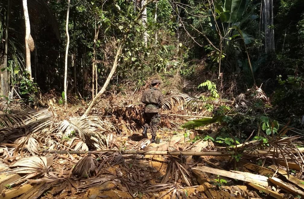 Operação contra grilagem de terra começou no início deste mês em Guajará-Mirim.  — Foto: Divulgação/PMA