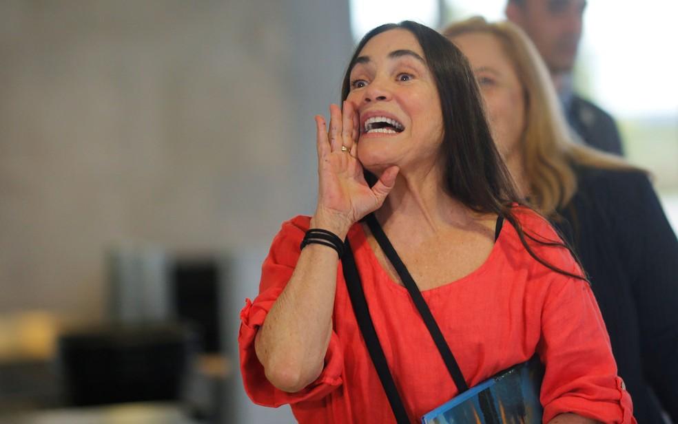 Regina Duarte voltou a Brasília nesta quarta (28) e aceitou o convite para chefiar a Secretaria de Cultura — Foto: Adriano Machado/Reuters