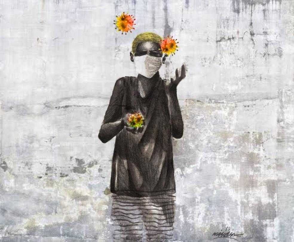 Artista Leonardo Mareco, de 22 anos, conta que, com seus grafites, busca debater questões sociais da sociedade contemporânea — Foto: Leonardo Mareco/Arquivo Pessoal