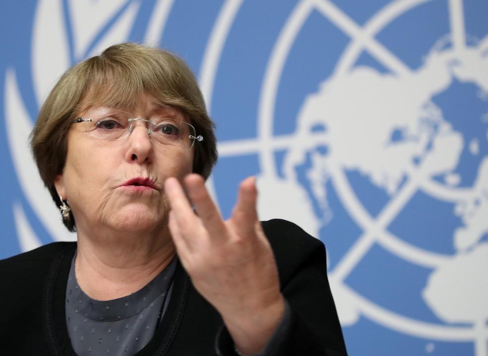 A alta-comissária da ONU para os Direitos Humanos, Michelle Bachelet — Foto: Reuters/Denis Balibouse/File Photo