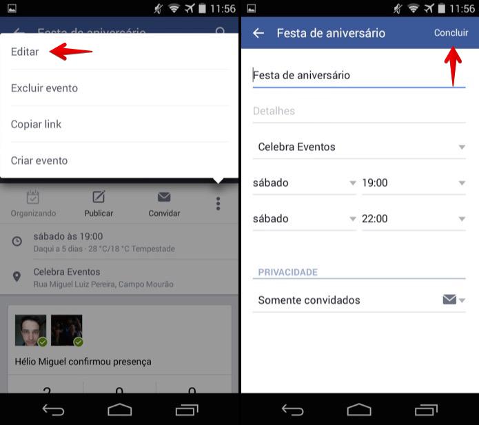 Editando evento do Facebook no Android (Foto: Reprodução/Helito Bijora)