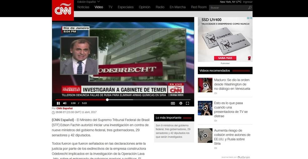 CNN em Espanhol destaca a lista de Fachin (Foto: Reprodução)