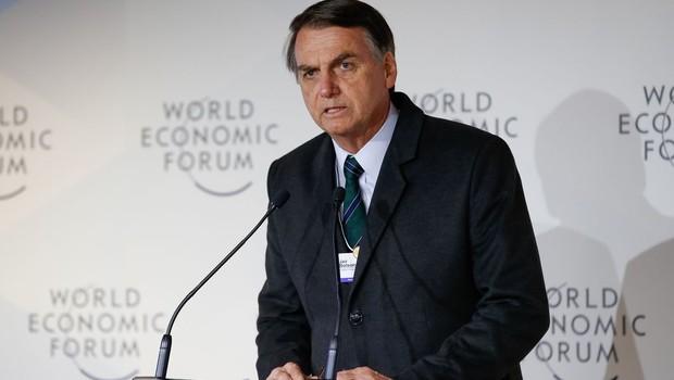 Jair Bolsonaro em discurso no Fórum Econômico Mundial, em Davos (Foto: Alan Santos/PR)
