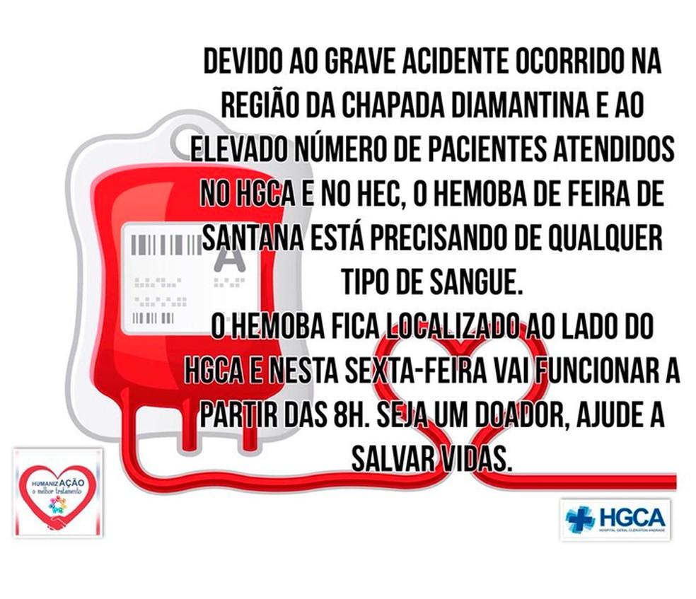 Hemoba de Feira de Santana pede doação de sangue para atender vítimas de acidente (Foto: Reprodução/Facebook)