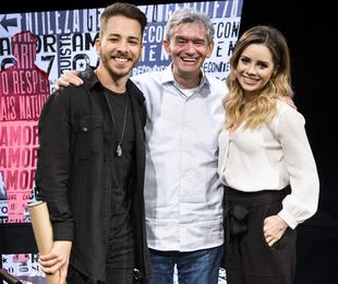 Sandy e Junior com Serginho Groisman no 'Altas horas' | Ramon Vasconcelos/ TV Globo