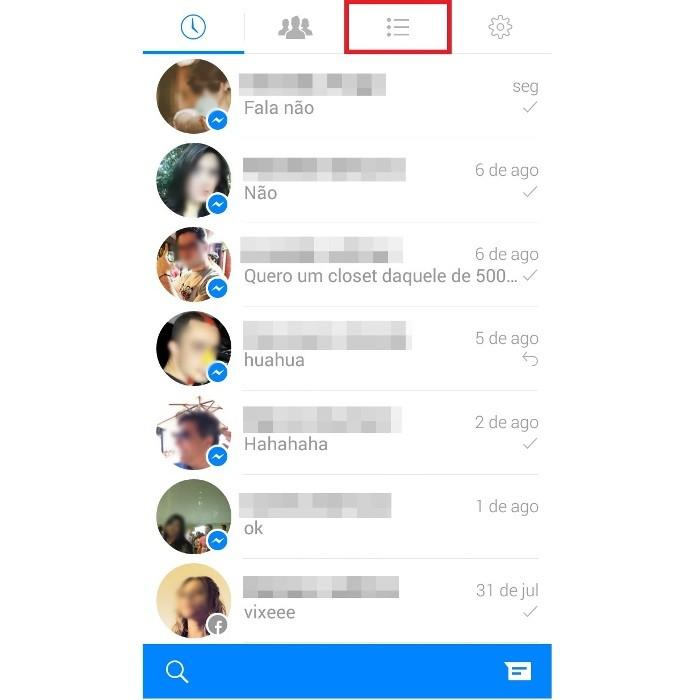 Atalho para a lista de contatos no Facebook Messenger (Foto: Reprodução/Lívia Dâmaso)