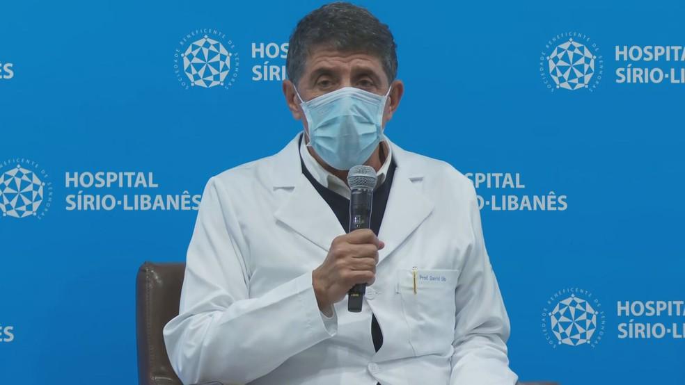 O médico David Uip em coletiva de imprensa sobre  estado de saúde de Bruno Covas (PSDB). — Foto: Reprodução/TV Globo