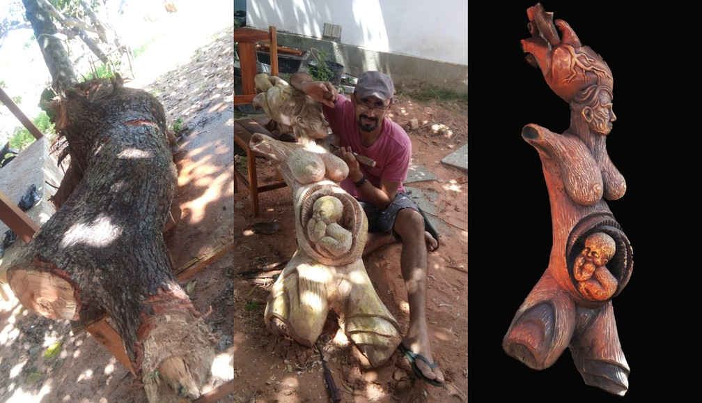 """Escultura """"Gaia"""" deu vida a um tronco de madeira de um cajueiro que havia sido derrubado — Foto: Miguel de Paula/Acervo Pessoal"""