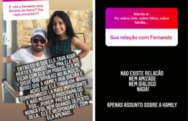 Aline Oliveira falou sobre relação ausente de Fernando Zor com a filha, Kamily, no Instagram Stories (Foto: Reprodução/Instagram)