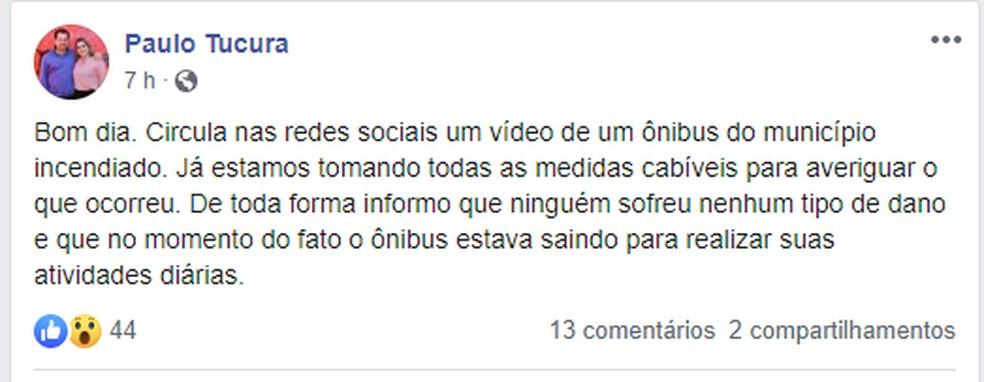 O prefeito da cidade usou as redes sociais para informar que o caso está sendo averiguado   Foto: Redes Sociais/Reprodução