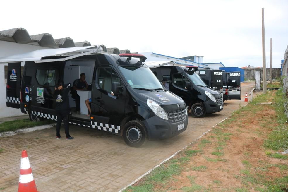 Delegacias móveis da Polícia Civil dentro do Complexo de Alcaçuz, em Nísia Floresta, ouviram presos sobre massacre de Alcaçuz — Foto: Polícia Civil/Divulgação