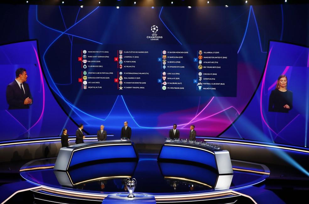 Telão mostra os grupos do sorteio da Liga dos Campeões — Foto:  REUTERS/Murad Sezer