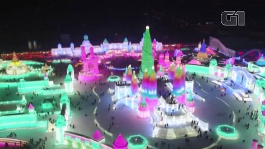 Cidade chinesa inaugura seu festival de gelo, o maior do mundo; VÍDEO