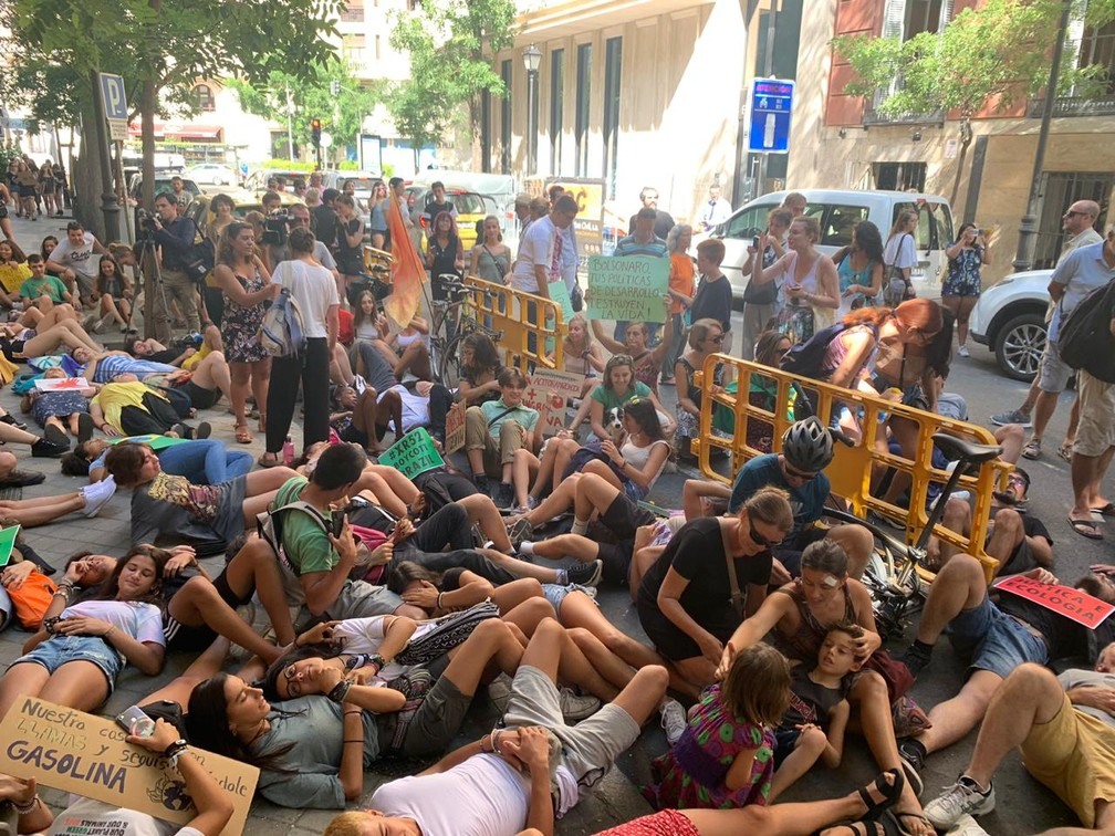 Manifestantes foram às ruas de Madri, na Espanha, nesta sexta-feira (23), para pedir a preservação da Amazônia. — Foto: Arquivo pessoal/Luís Lima
