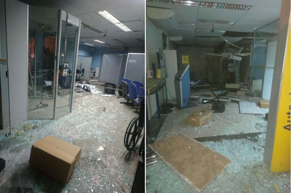 Agência bancária da cidade de Inhuma foi atacada em março de 2018.  (Foto: Divulgação/ Polícia Militar)