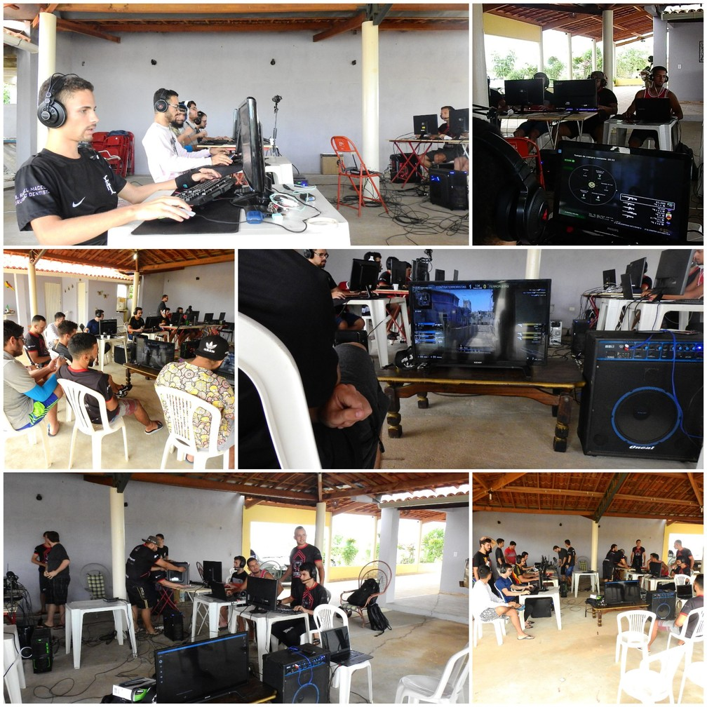 Jogadores de CS:GO em Paulistana, sertão do Piauí, durante evento improvisado em 2017  — Foto: Arquivo pessoal/ And1