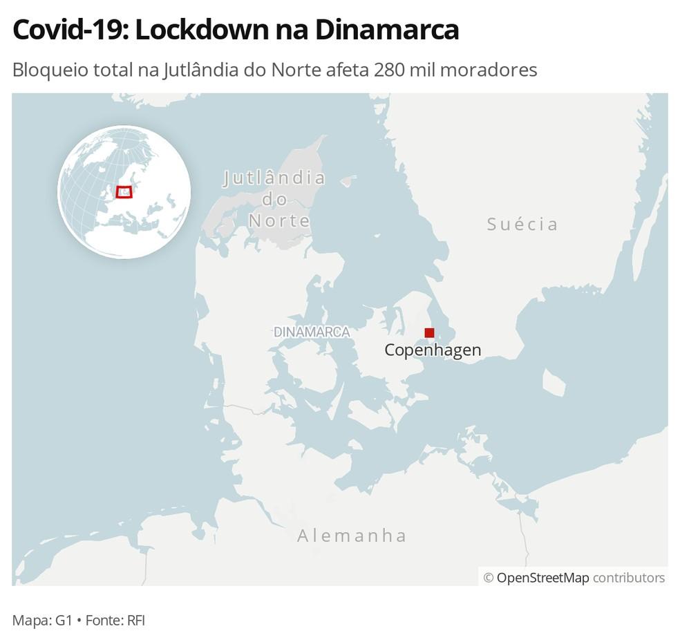 Covid-19: Lockdown na Jutlândia do Norte afeta 280 mil moradores — Foto: G1