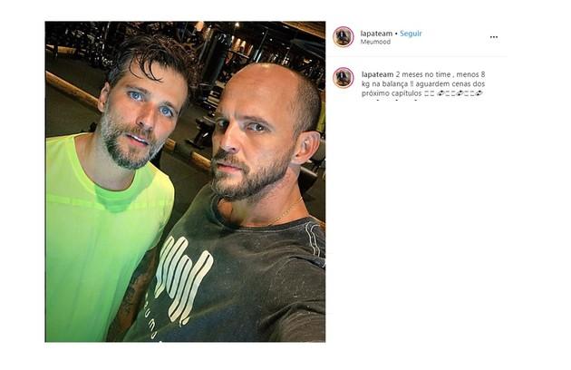 Personal trainer de Bruno Gagliasso, Ricardo Lapa fez post mostrando o ator no fim do treino (Foto: Reprodução/Instagram)
