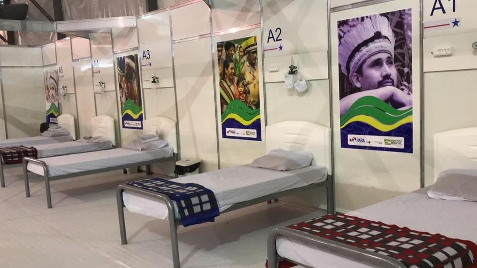 Ala preparada no HCS para receber pacientes indígenas com sintomas do novo coronavírus — Foto: Ascom IPG/Divulgação