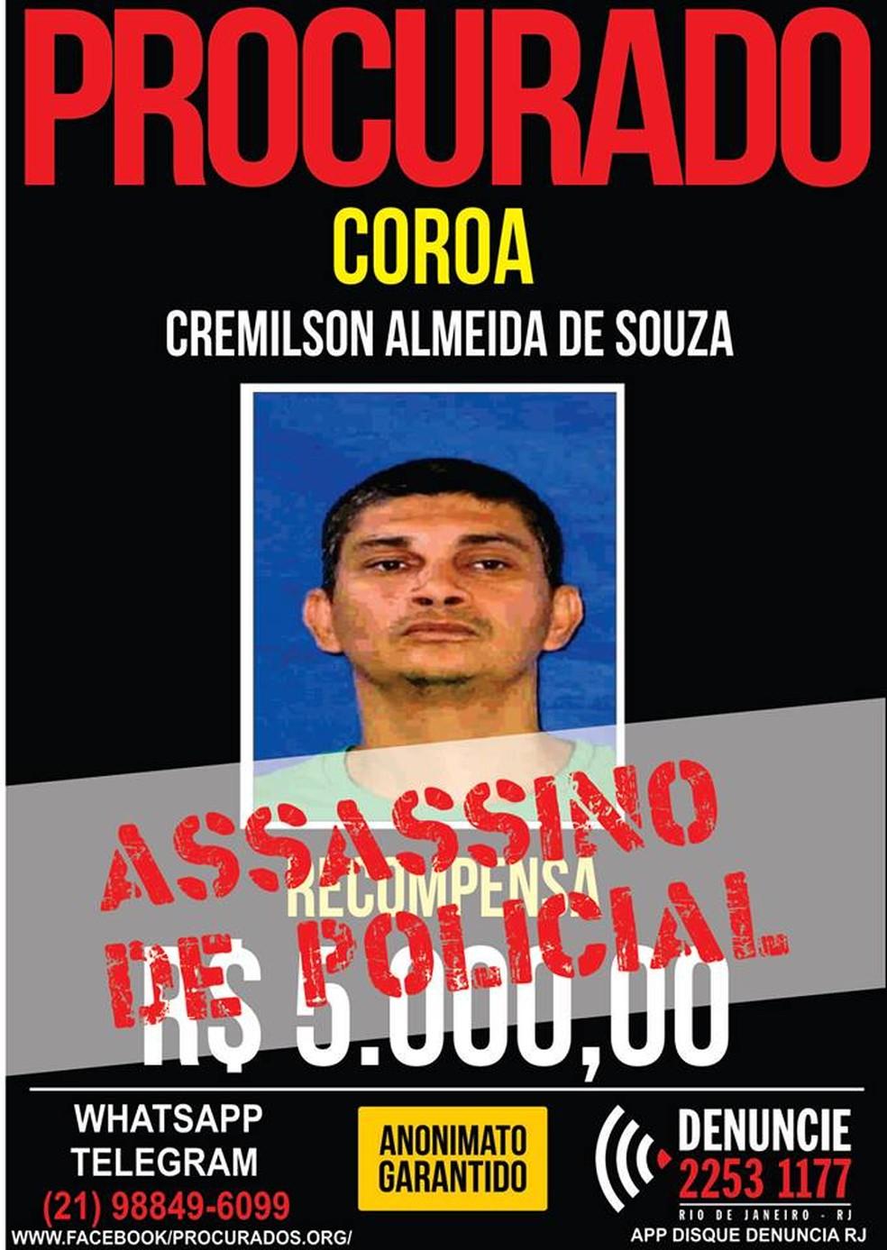 Cremilson é procurado pelo assassinato de policial e amigos de agentes (Foto: Reprodução)