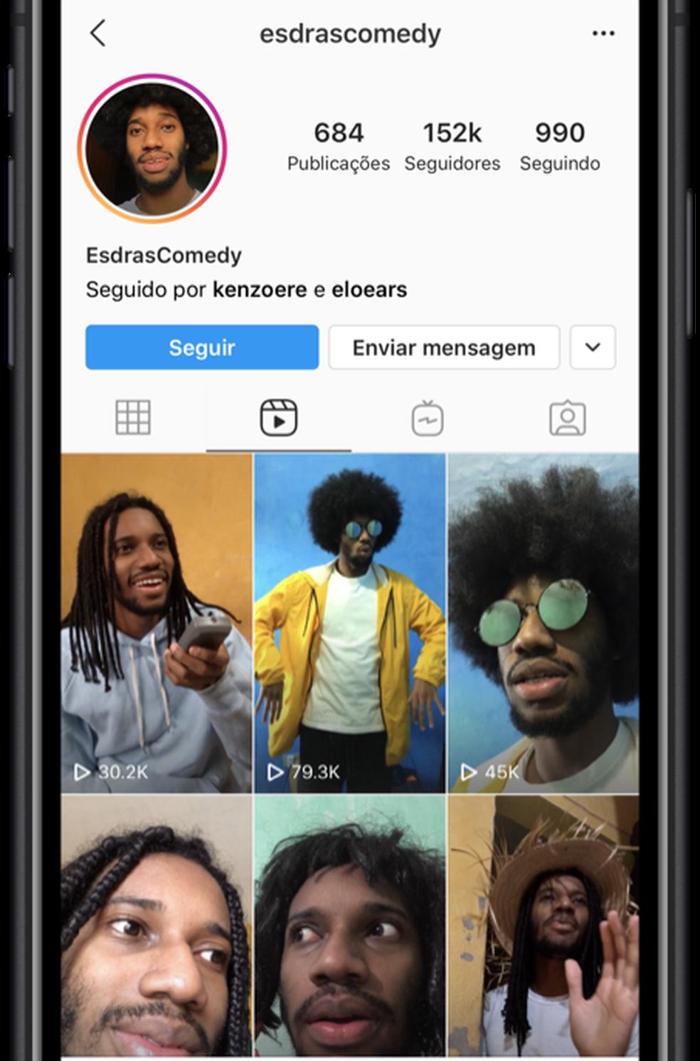 Expansão do Reels adiciona nova aba de conteúdo no perfil dos usuários. — Foto: Divulgação/Instagram