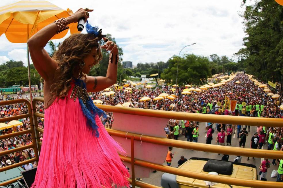 Foliões se divertem no bloco de carnaval Frevo Mulher, com apresentação no trio elétrico da cantora Elba Ramalho, no Parque do Ibirapuera, Zona Sul de São Paulo — Foto: Paulo Guereta / Agência O Dia / Estadão Conteúdo