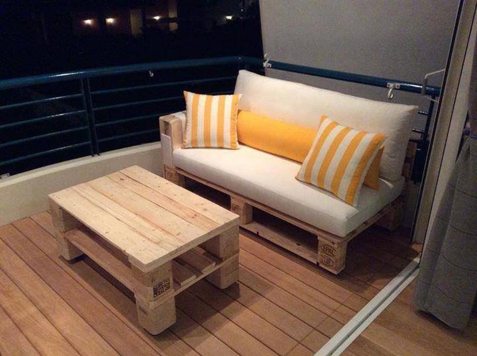 Pallets podem ser transformados em diversos móveis, como sofás e mesas (Foto: Rafael Ranéia/Arquivo pessoal)