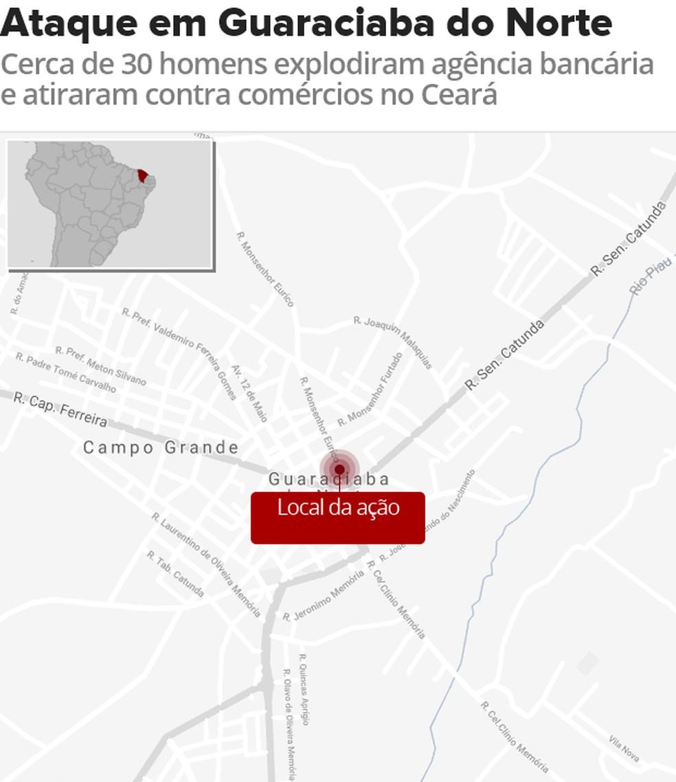 Ataque a banco em Guaraciaba do Norte (Foto: Arte/G1)