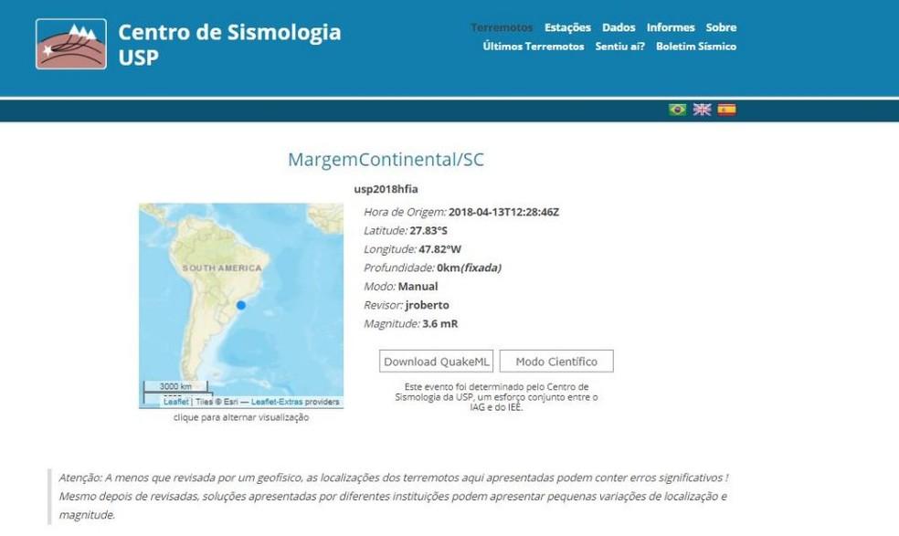 Centro de Sismologia da USP registrou fenômeno (Foto: Reprodução)