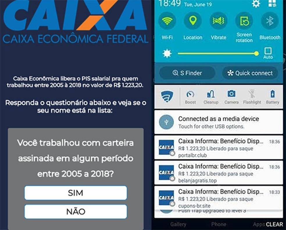 Site falso faz perguntas para que usuário acredite que dados do benefício serão mesmo informados (esq.) e divulgação do golpe nas notificações do celular (dir.). (Foto: Reprodução/PSafe)