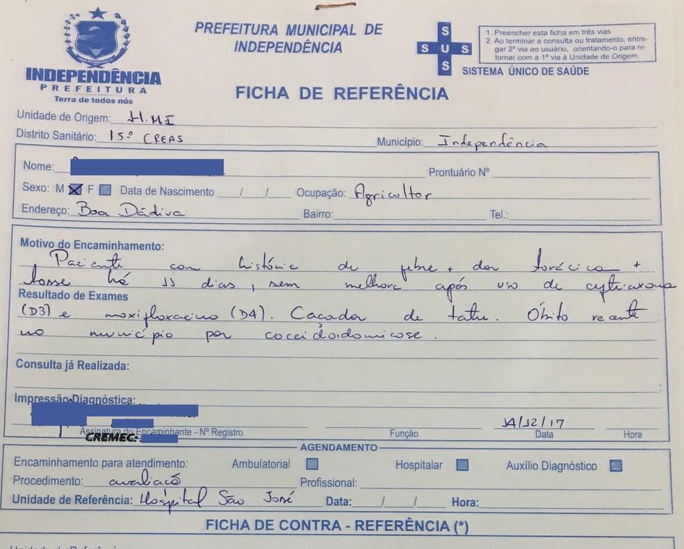 Município de Independência, no Ceará, registrou duas mortes e cinco casos da 'febre do vale' em quatro meses (Foto: Arquivo pessoal)