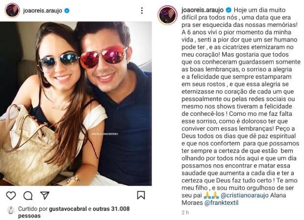 João Reis homeageia o filho, Cristiano Araújo, e Allana Morais (Foto: Reprodução/Instagram)
