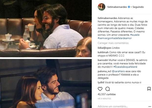 Homenagem de Fátima Bernardes para o namorado, Túlio Gadelha (Foto: Reprodução/Instagram)